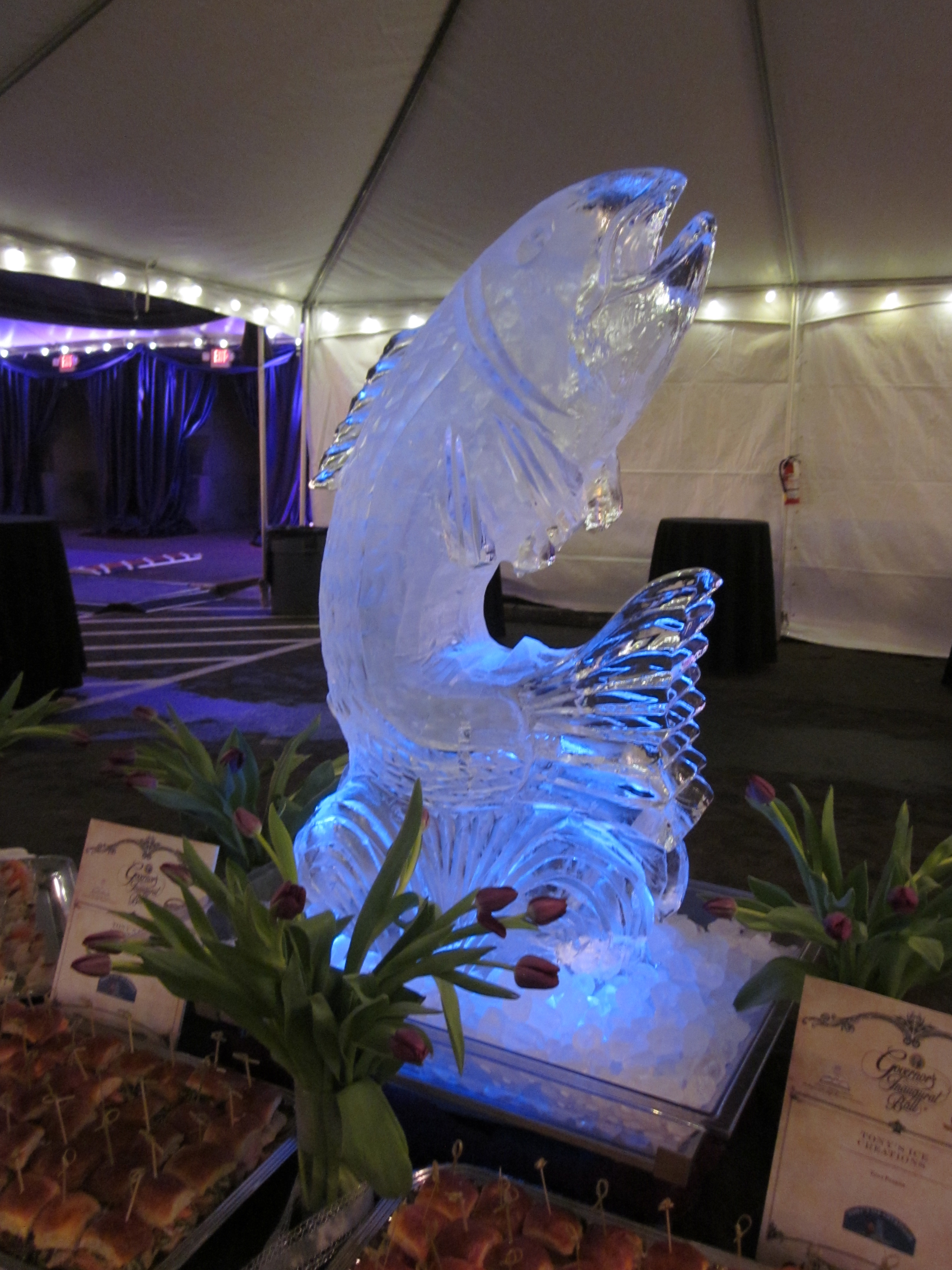leaping salmon ice sculpture
