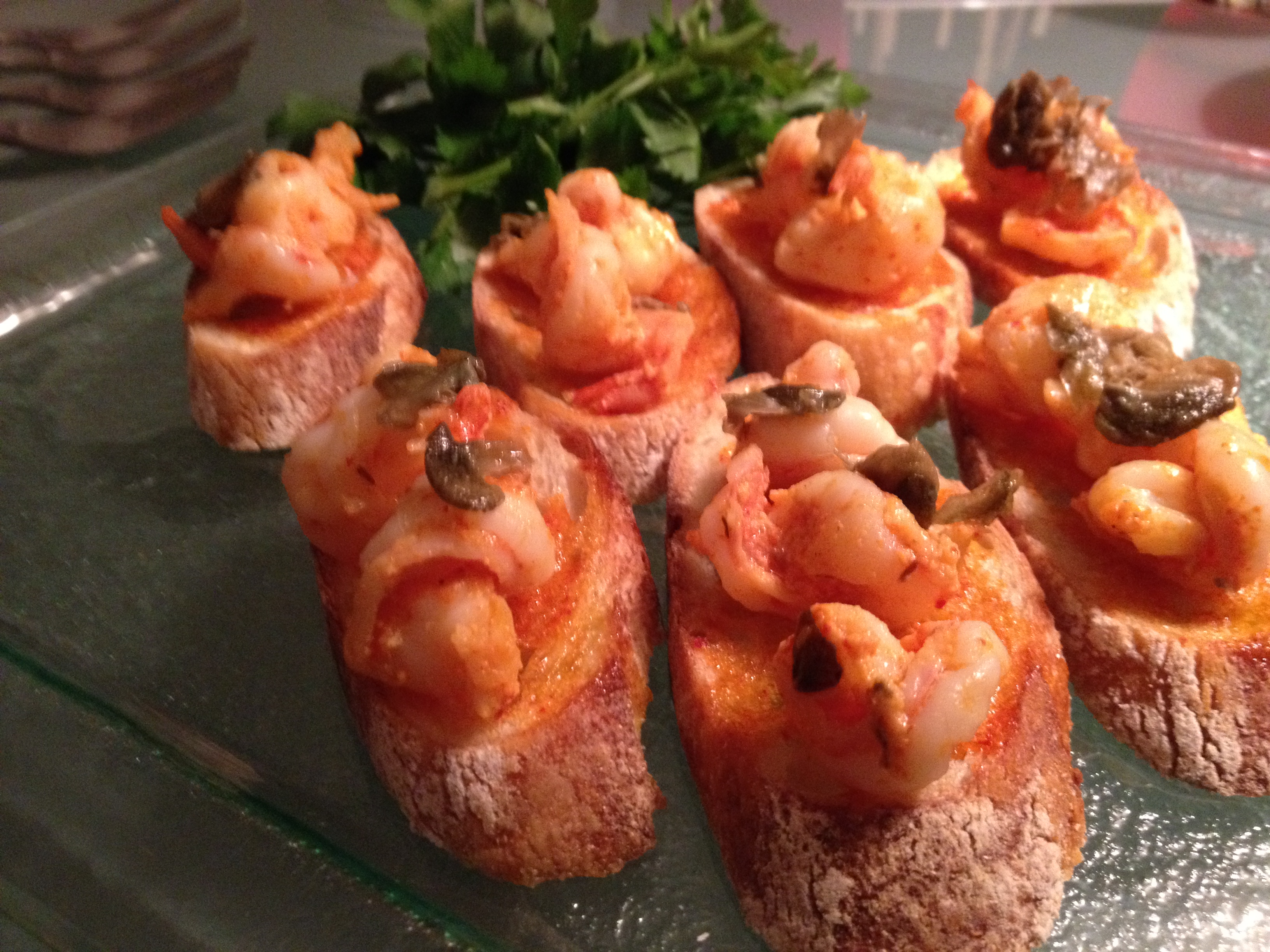 Roasted pepper- roulli sauce with shrimp and crispy capers