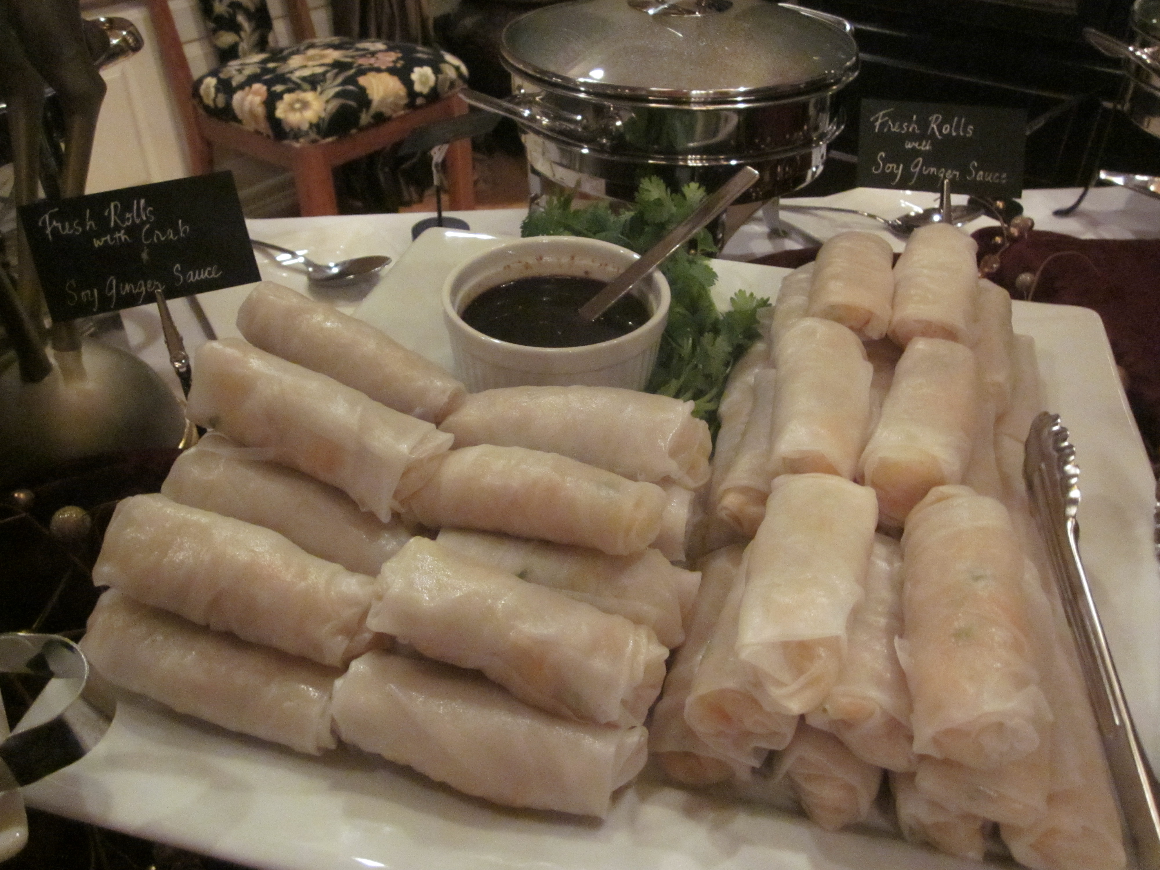 Fresh rolls filled with bean thread noodle salad and crab